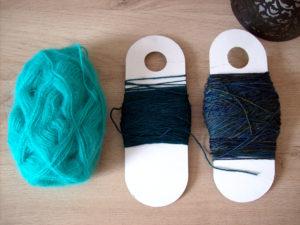 Trio Pelote dégradé bleu